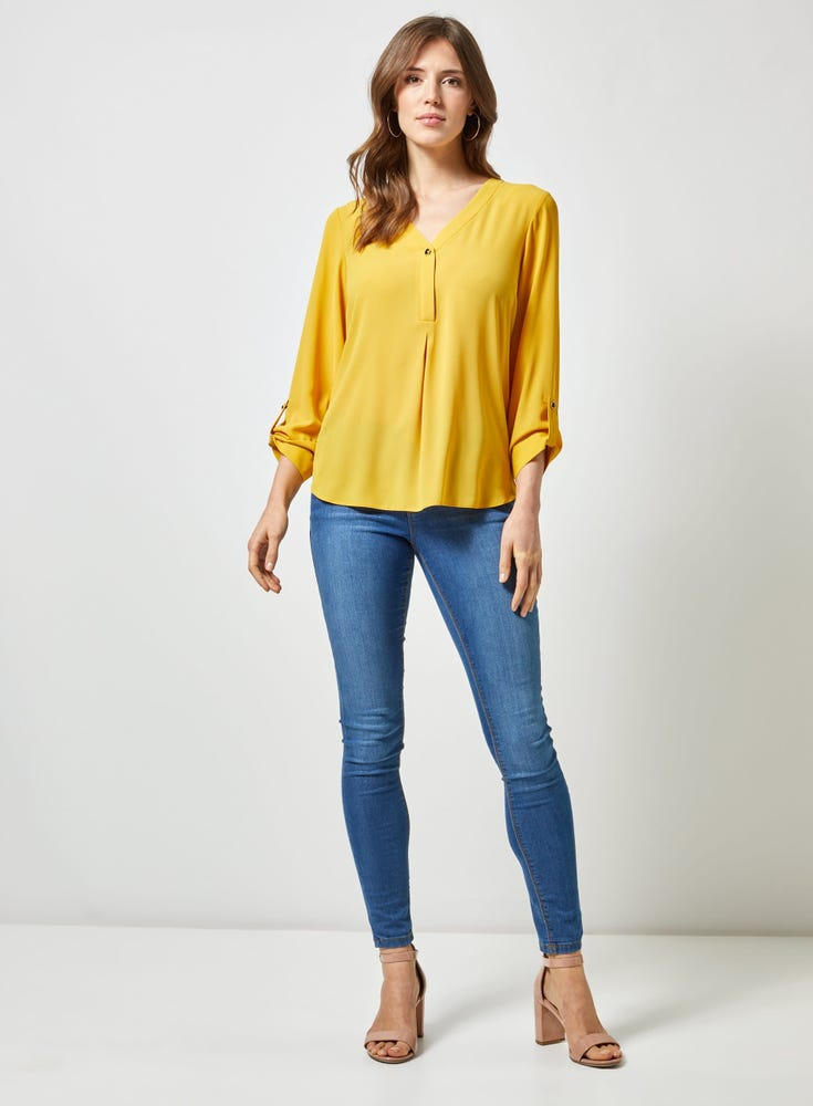 Button Roll Sleeve Top