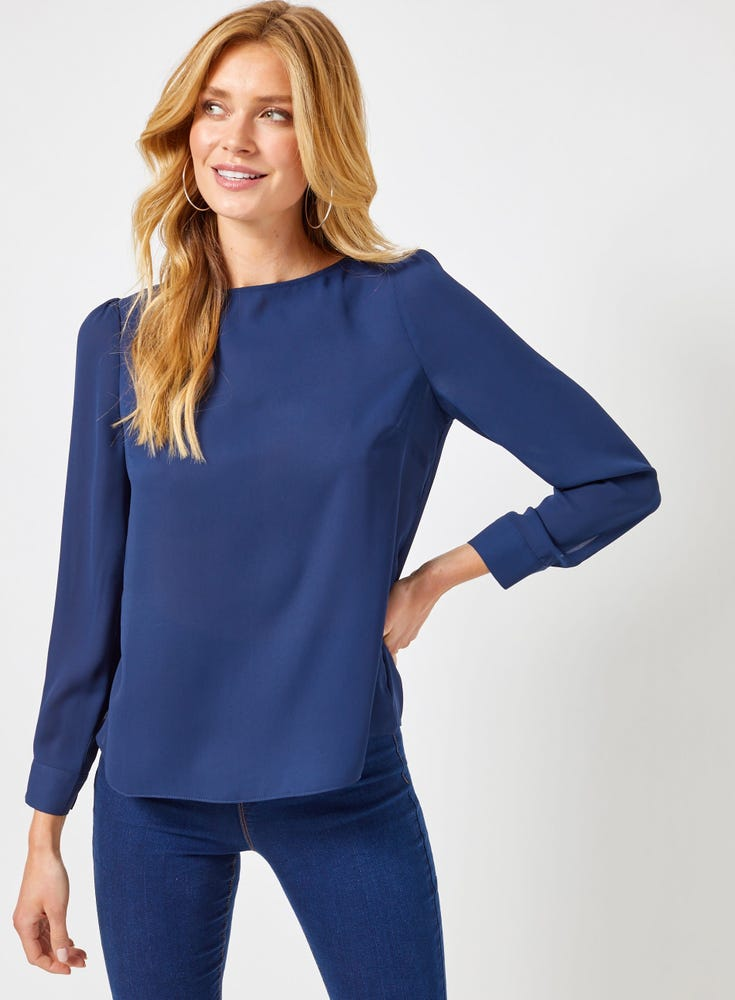 Button Back Long Sleeve Top
