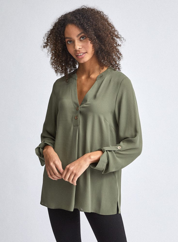 Two Button Roll Sleeve Top