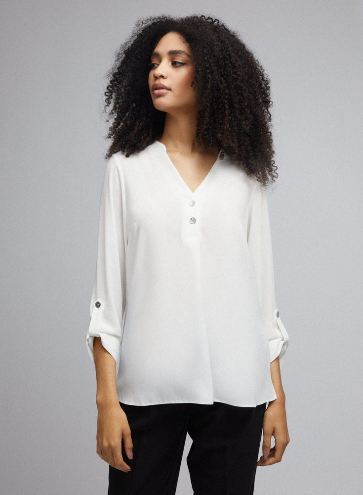 2 Button Roll Sleeve Top